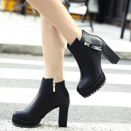 Ericdress Simple PU Platform Knight Boots