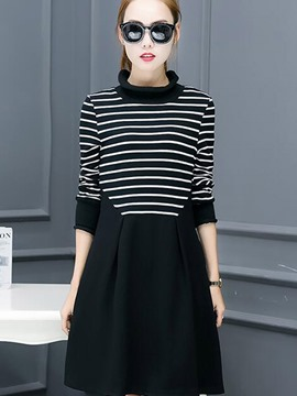 Ericdress Simple Strip Patchwork Ruffled Collar Pleated Casual Dress