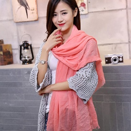 Ericdress Simple Solid Color Fringed Scarf