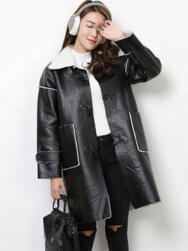 Ericdress Straight Color Block PU coat