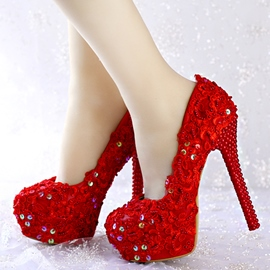 Ericdress Red Beads Lace Appliques Wedding Shoes