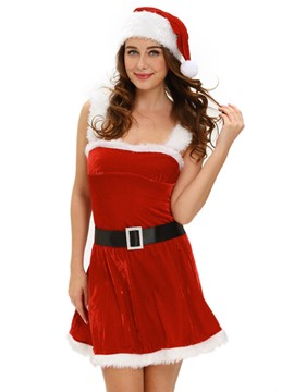 Ericdress Sexy Backless Straps Santa Cosplay Christmas Costume