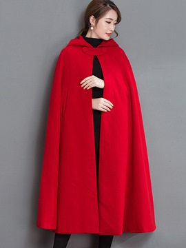 Ericdress Loose Solid Color Hooded Cape
