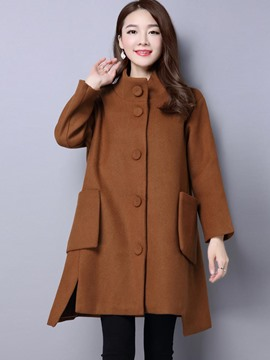 Ericdress Stand Collar Single-Breasted Loose Coat