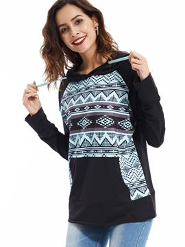 Ericdress Raglan Sleeves Kangaroo Pocket Geometric Hoodie