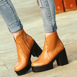 Ericdress Special PU Platform Chunky Heel Ankle Boots