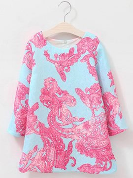 Ericdress Print A-Line Long Sleeve Girls Dress