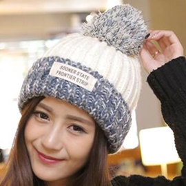 Ericdress Colorful Woolen Yarn Applique Knitted Hat