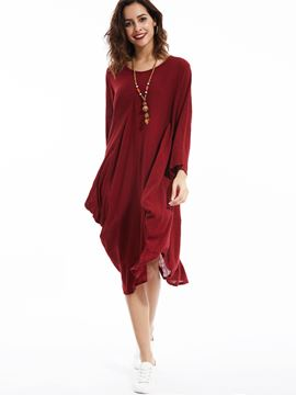 Ericdress Loose Plain Round Neck Casual Dress