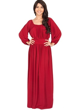 Ericdress Pleated Square Neck Lantern Sleeve Floor-Length Maxi Dress