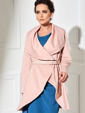 Ericdress Loose Solid Color Turn-Down Asymmetric Coat