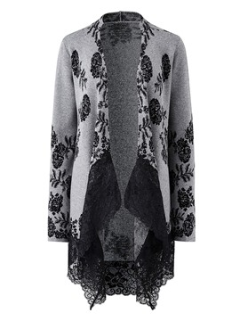 Ericdress Embroidery Lace Patchwork Cardigan Knitwear