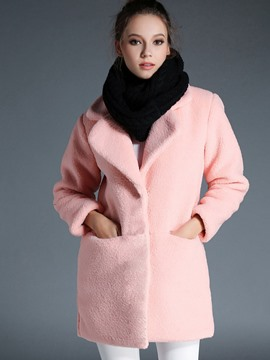 Ericdress Straight Solid Color Fleece Polo Coat