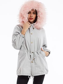 Ericdress Drawstring Single-Breasted Hooded Cotton Coat