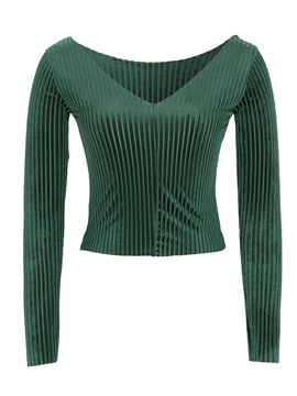 Ericdress Green V-Neck Crop T-Shirt