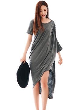 Ericdress Solid Color Asymmetric Pleated Patchwork Casual Dress