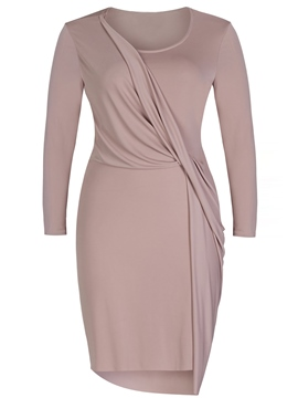 Plain Round Neck Plus Size Dress