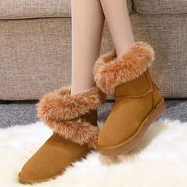 Ericdress Cute Rabbit Fur Middle Cut Snow Boots