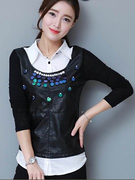 Ericdress Lapel Sequins Bead Blouse