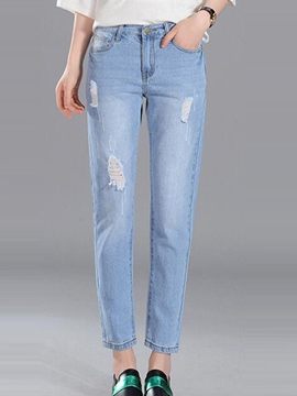 Ericdress Worn Holes Washable Denim Jeans
