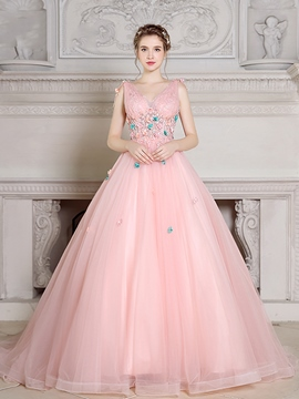 Ericdress Charming Ball Gown V-Neck Lace Pearls Court Train Quinceanera Dress