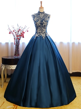 Ericdress Vintage High Neck Applique Lace Floor Length Quinceanera Dress