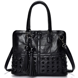 Ericdress Black Tassel Patchwork Handbag