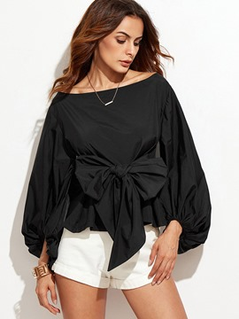 Ericdress Tie Bow Front Pleated Black Blouse