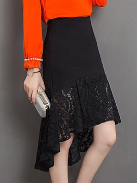 Ericdress Asymmetric Falbala Lace Hollow Skirt