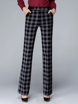Ericdress Plaid Elastics Wide Legs Pants