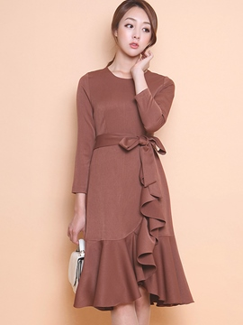 Plain Round Neck Falbala Maxi Dress