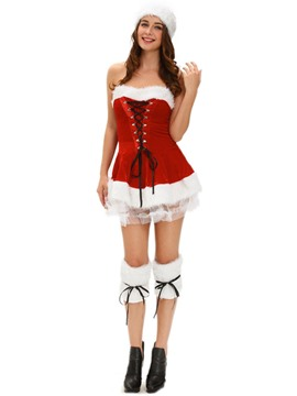 Ericdress Strapless Cross Strap Mesh Santa Cosplay Christmas Costume