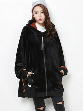 Ericdress Loose Color Block Coat