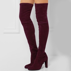 Ericdress Red Lace-Up Back Over-the-Knee Boots