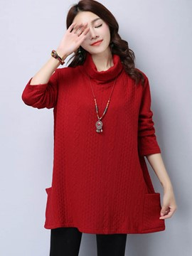 Ericdress Loose Stand Collar Solid Color Hoodie