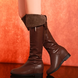 Ericdress PU Back Lace up Knee High Boots