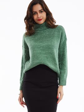 Ericdress Plain Turtleneck Drop Shoulder Knitwear