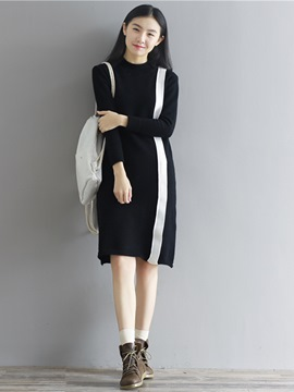 Ericdress Round Collar Strip Slim Sweater Dress