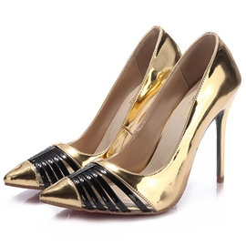 Ericdress Golden Pointed Toe Ultra-High Heel Pumps