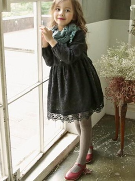 Ericdress Lace Floral Hollow Long Sleeve Girls Dress