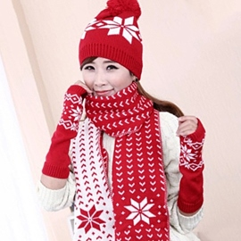 Ericdress Snowflake Embellished Knitted Hat & Scarf & Gloves
