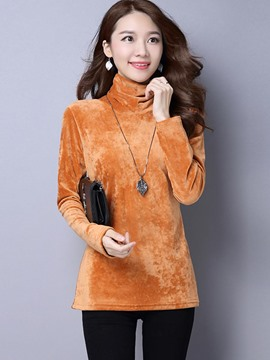 Ericdress Loose Solid Color Turtleneck Casual T-Shirt