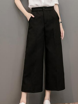Ericdress Solid Color Patchwork Wide Legs Pants