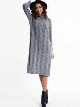 EricdressTurtleneck Drop-Shoulder Sleeves Pocket Sweater Dress