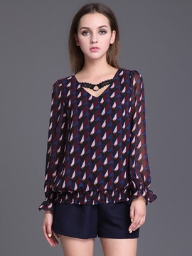 Ericdress V-Neck Choffon Blouse