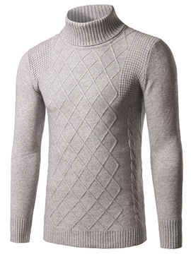 Ericdress Plain Turtle Neck Diamond Pattern Pullover Men's Sweater
