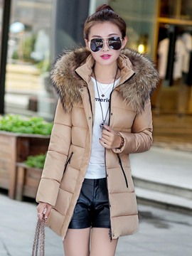 Ericdress Color Block Slim Faux Fur Collar Cotton Coat