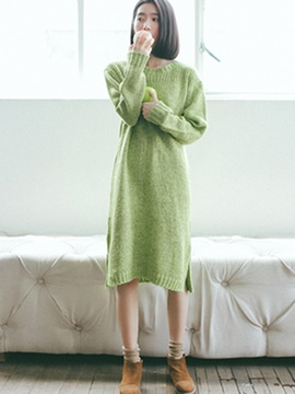 Ericdress Plain Round Collar Loose Straight Sweater Dress