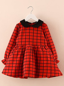 Ericdress Plaid Doll Collar Long Sleeve Girls Dress