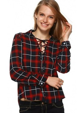 Ericdress Lace Up Plaid Fashion Blouse